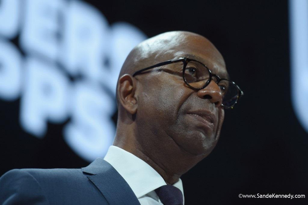 """NEW YORK, NY - SEPTEMBER 19: Robert """"Bob"""" Collymore, CEO, Safaricom speaks at The 2017 Concordia Annual Summit at Grand Hyatt New York on September 19, 2017 in New York City.   Riccardo Savi/Getty Images for Concordia Summit/AFP"""