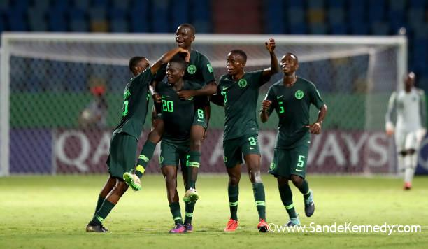GOIANIA, BRAZIL - OCTOBER 29: Ibrahim said #20 of Nigeria celebrate with his teamµates after he scores the third goal during the FIFA U-17 World Cup Brazil 2019 Group B match between Nigeria and Ecuador at Estadio Olimpico de Goias on October 29, 2019 in Goiania, Brazil. (Photo by Martin Rose - FIFA/FIFA via Getty Images)
