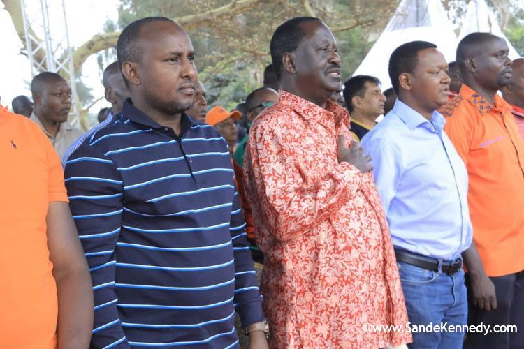 ODM Director of Elections Junet Mohamed, ODM leader Raila Odinga, Machakos Governor Alfred Mutua and Kibra MP-elect Imran Okoth during a thanksgiving rally at the DC Grounds, Kibra on November 10, 2019. Image: COURTESY